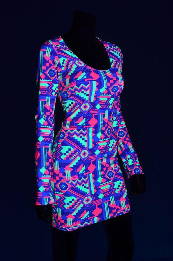Neon UV Glow Purple, Lime & Hot Pink Geometric Aztec Print Long ...