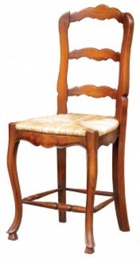 Handcarved Mahogany Counter Height Barstool rush seat