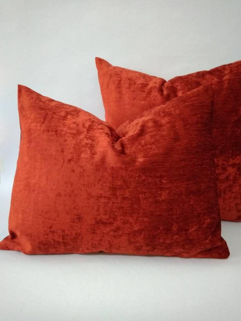 burnt orange velvet cushion covers online