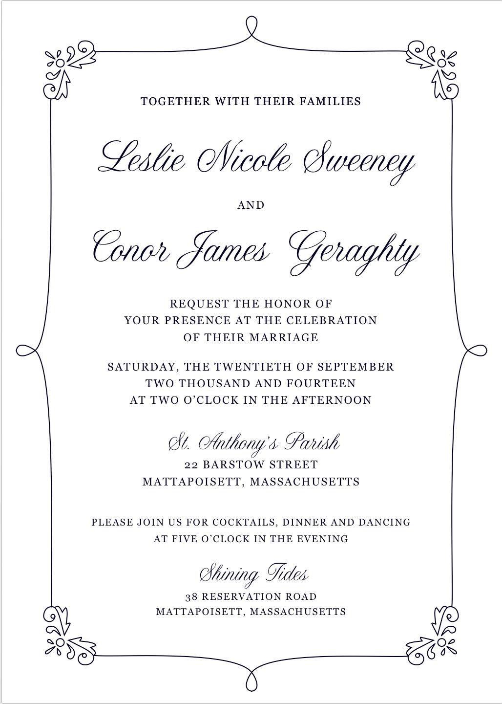 Delicate, pretty, traditional custom letterpress wedding invitation ...