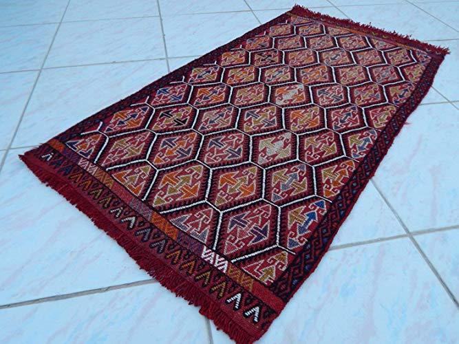 Bohemian Decor Small Oushak Kilim Floor Mat