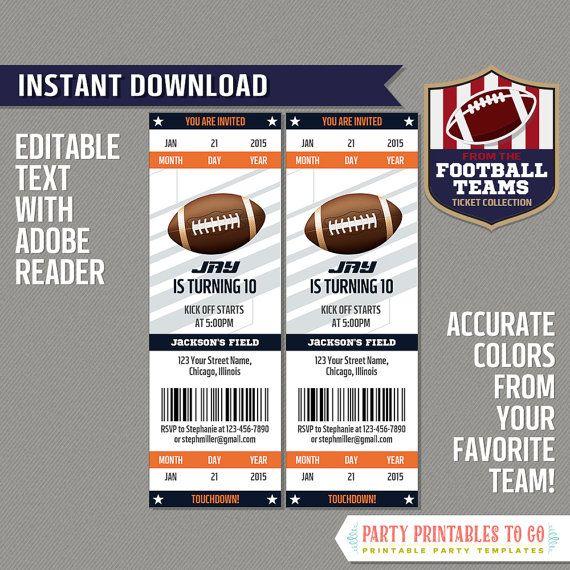 Football Ticket Invitation Template (Orange and Navy) - INSTANT - ticket invitation template