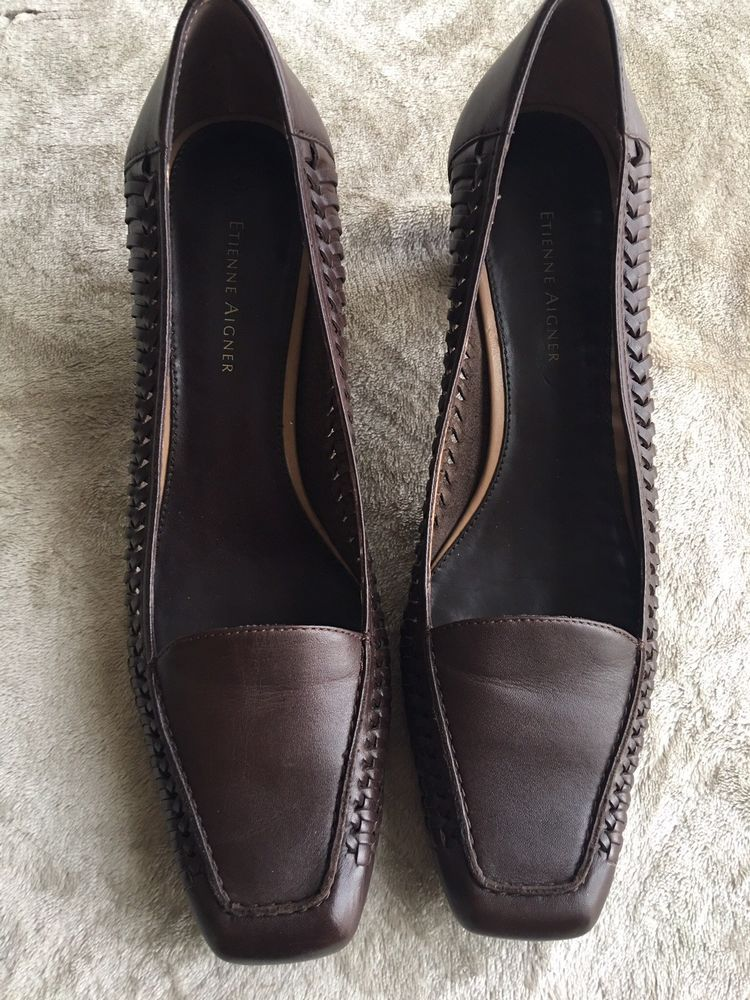 3965dded22 Etienne Aigner Womens Brown Leather Woven Heels Size 8.5M Pumps Square Toe  EUC #fashion #clothing #shoes #accessories #womensshoes #heels (ebay link)