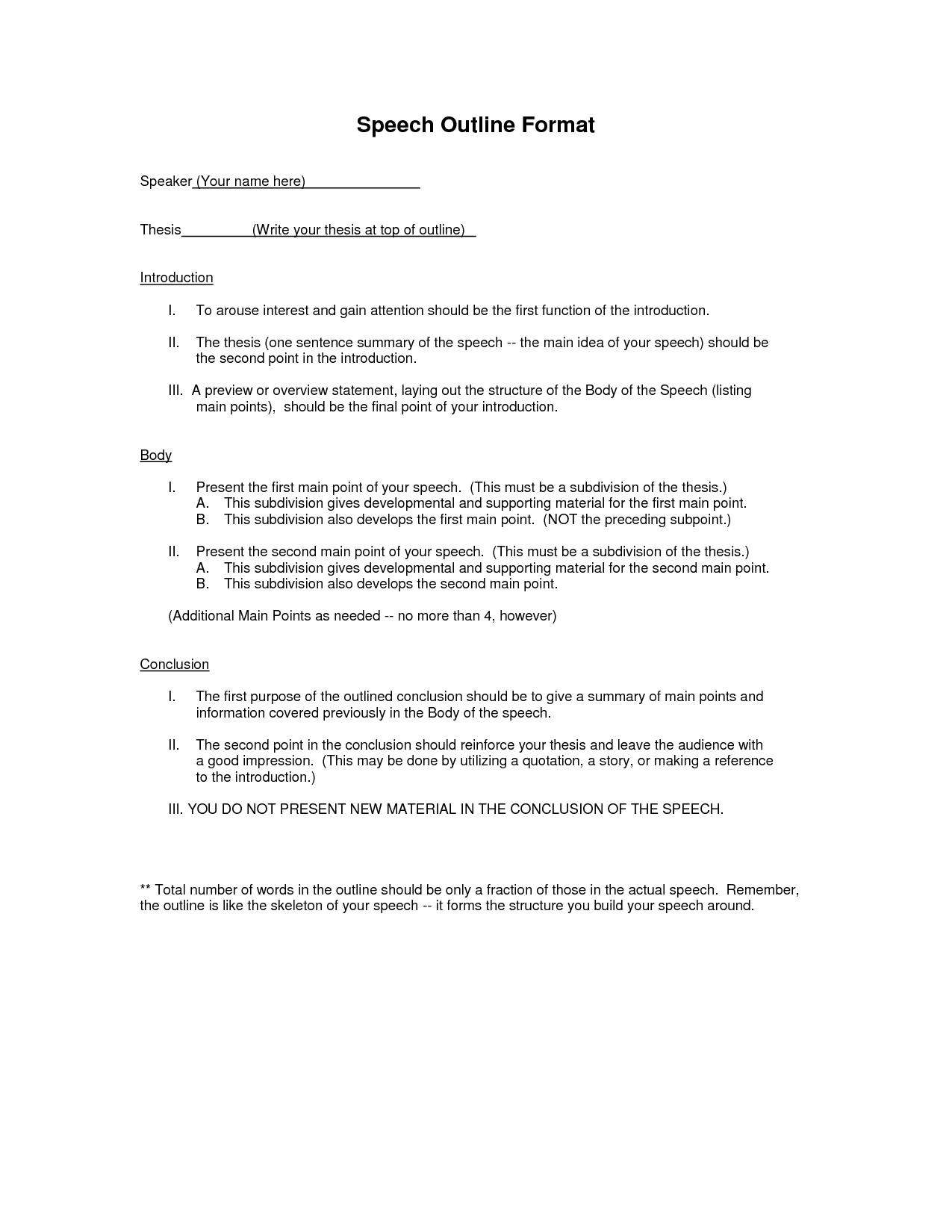 Outline Outline Format Speech Outline Mla Format