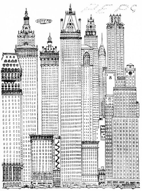 Architectural Drawings Of Skyscrapers osbert lancaster, early skyscraper, from: a cartoon history of