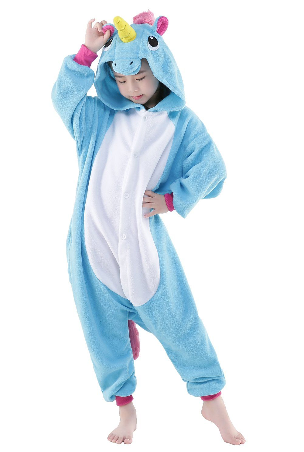 5cd8c1863ab4 NEWCOSPLAY Animal Cosplay Costume Unisex Kids Unicorn Pajamas 115 ...