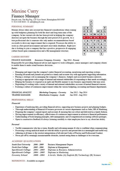 Finance Manager resume, CV, example, crossword template, accounting ...