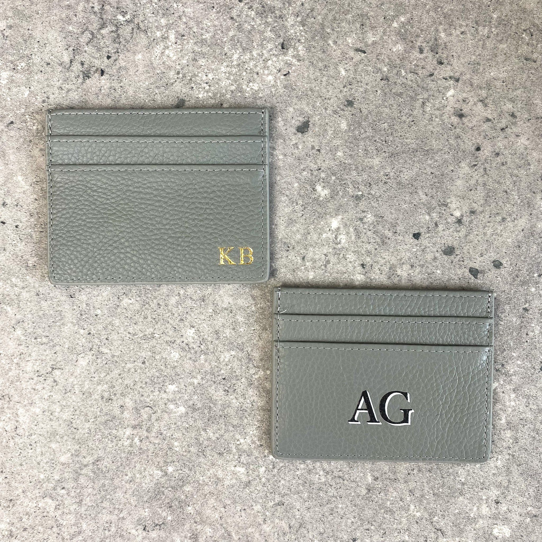 Personalised Pebble Leather Card Holder | Grey - No foil (initials only)