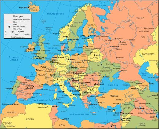 Countries And Capitols Of Europe Education Pinterest: Europe Map With Cities And Countries At Slyspyder.com