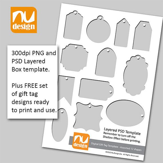 Make Your Own Printable Gift Tags Digital Template And Bonus Sheet Of 12 Gift Tag Designs 300dpi Png And Psd Files In 2021 Gift Tag Design Gift Tags Printable Gift Tag