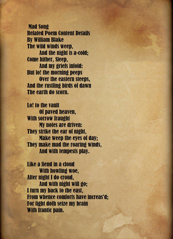 night poem by william blake summary