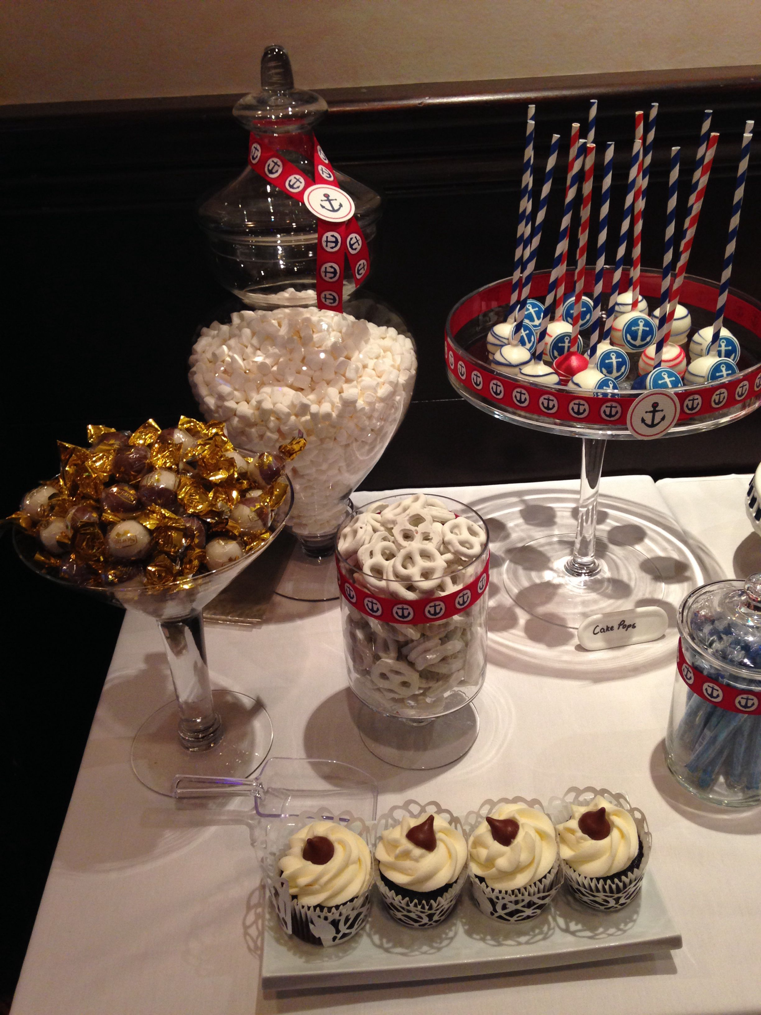 Nautical Candy Bar Cakepops Red White Blue Baby Shower Cupcakes
