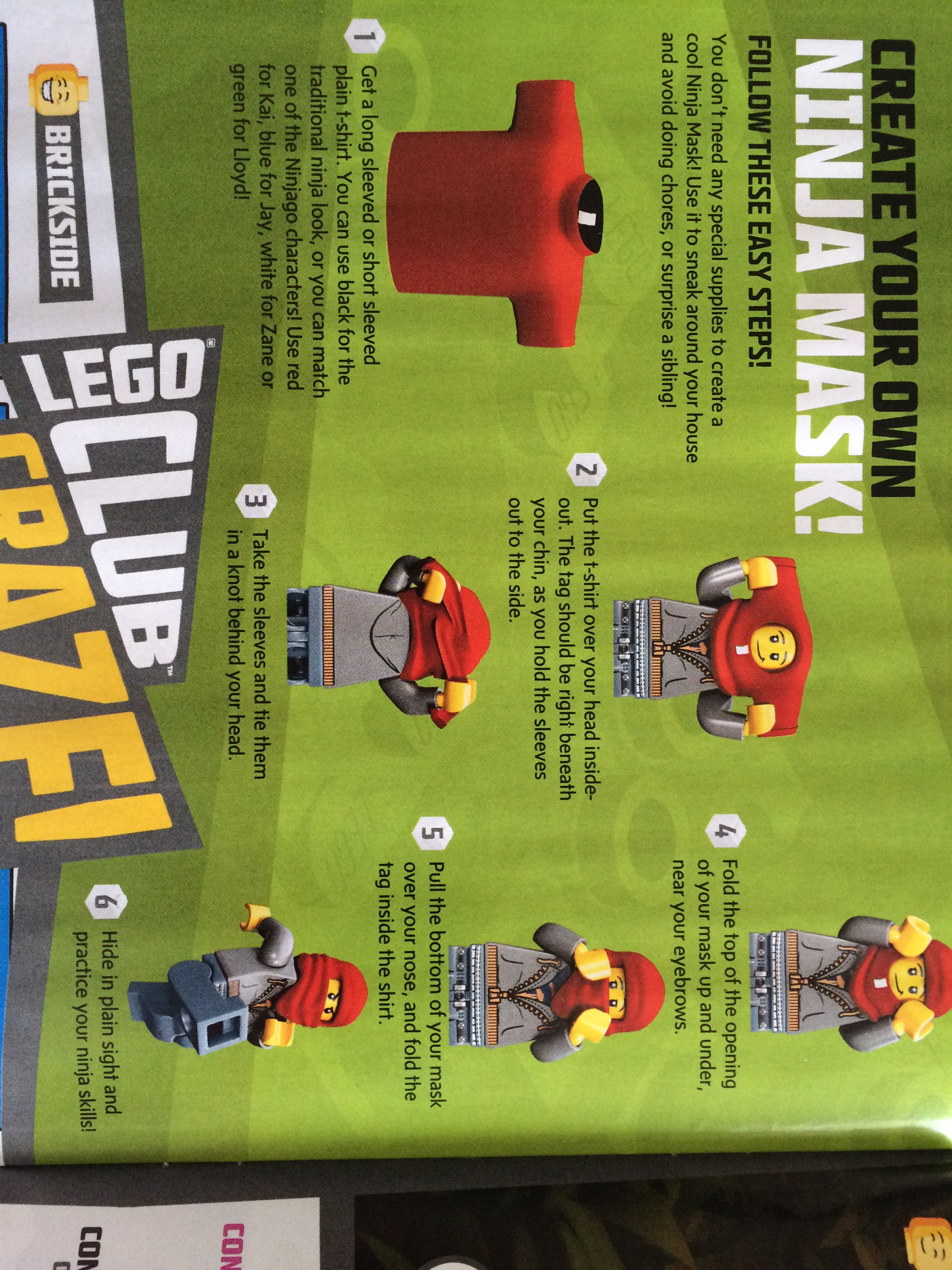 Black t shirt ninja mask - Create Your Own Ninja Mask From The Lego Magazine