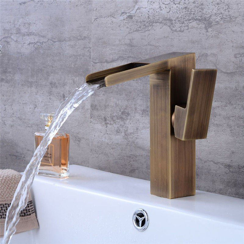 Find More Basin Faucets Information About Bathroom Basin Faucet Antique Brass Basin Faucet Waterfall Sink Mixer Tap S Sink Mixer Taps Bathroom Basin Basin Taps