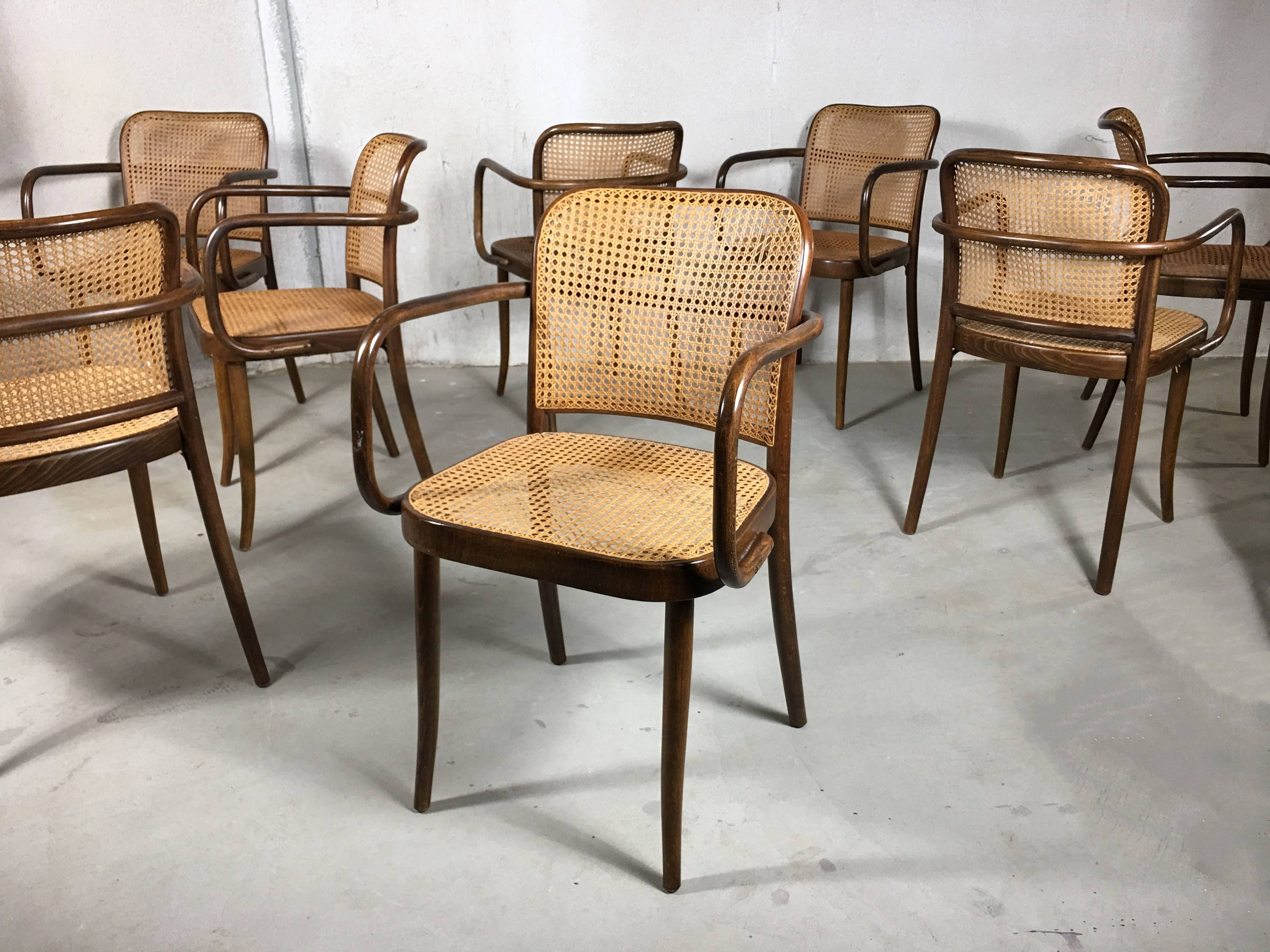 S/8 Josef Frank Modern Dining Chairs, Dining Room Chairs, Cane Bistro Chairs