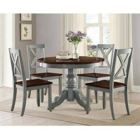 Better homes and gardens maddox 5 piece dining set blue - Better homes and gardens mercer dining table ...
