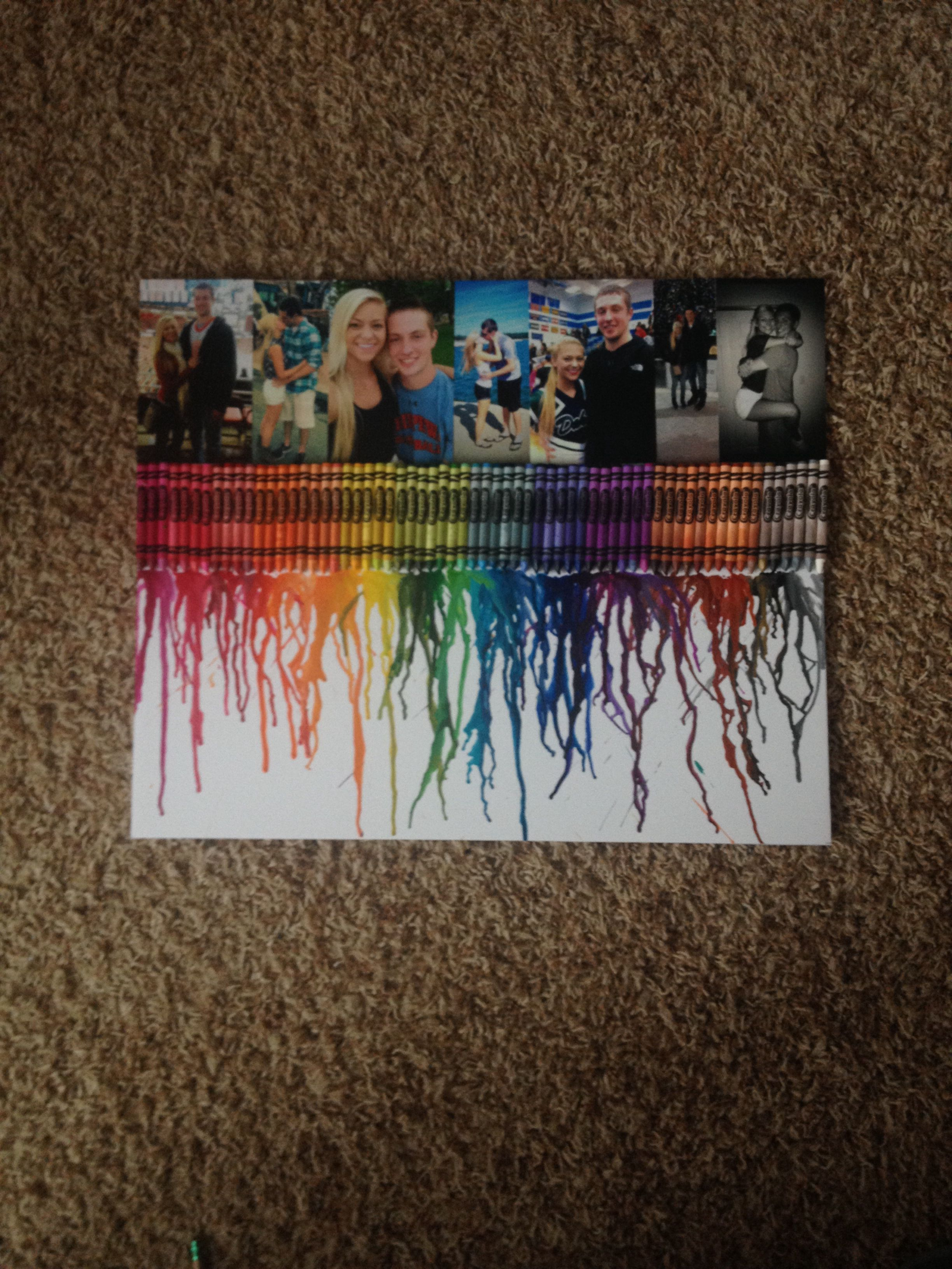 Crayon Melting With Pictures Of My Boyfriend And I I Made Him This For Our One Year Melting Crayons Crayon Art Melted 1 Year Anniversary Gifts