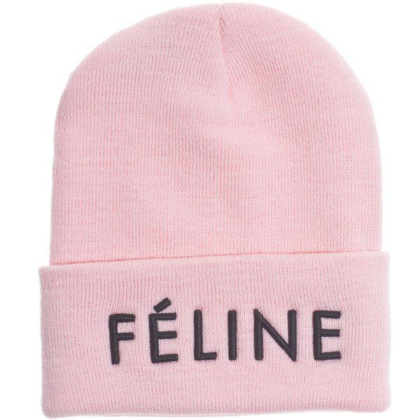 BRIAN LICHTENBERG Feline BABY PINK BLACK embroidered knit beanie ($43) ❤ liked on Polyvore featuring accessories, hats, beanies, pink, knit beanie, embroidered beanie, beanie cap hat, rosebud hats and brian lichtenberg