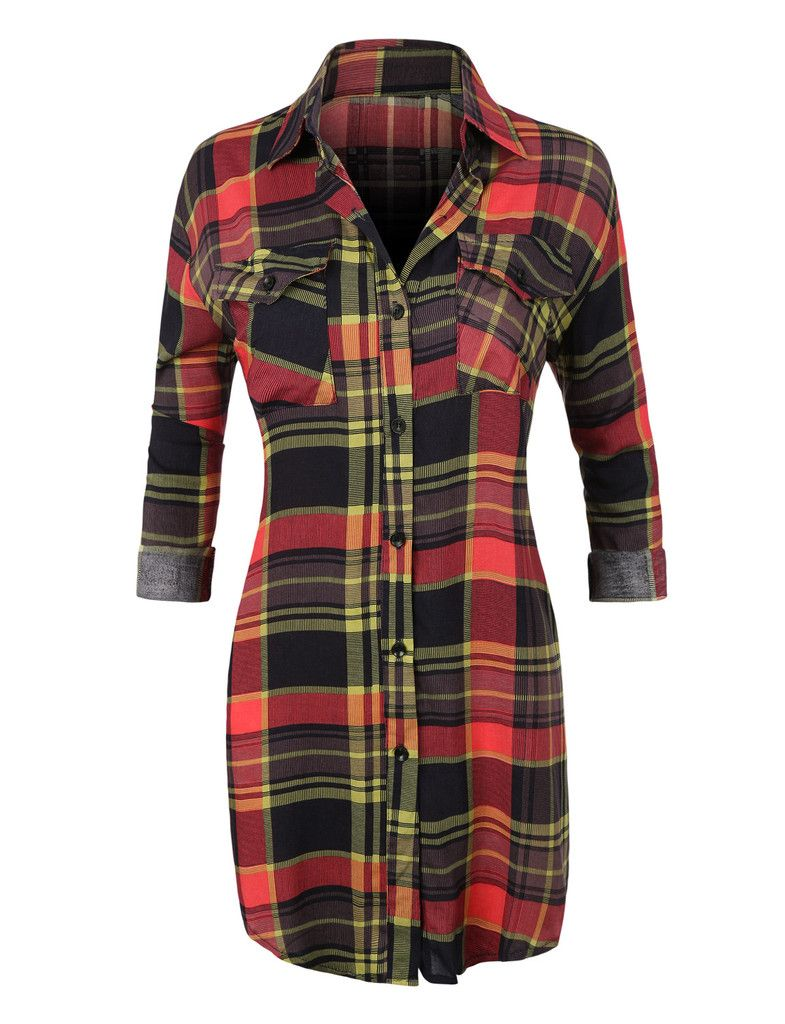 Flannel shirt outfit ideas  Womens Casual Plaid Button Down Shirt with Roll Up Sleeves