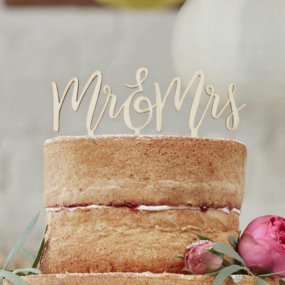 Wooden Mr & Mrs Script Cake Topper, Romantic Wedding Cake Topper, Vine, Rustic Style Cake Topper, Lo