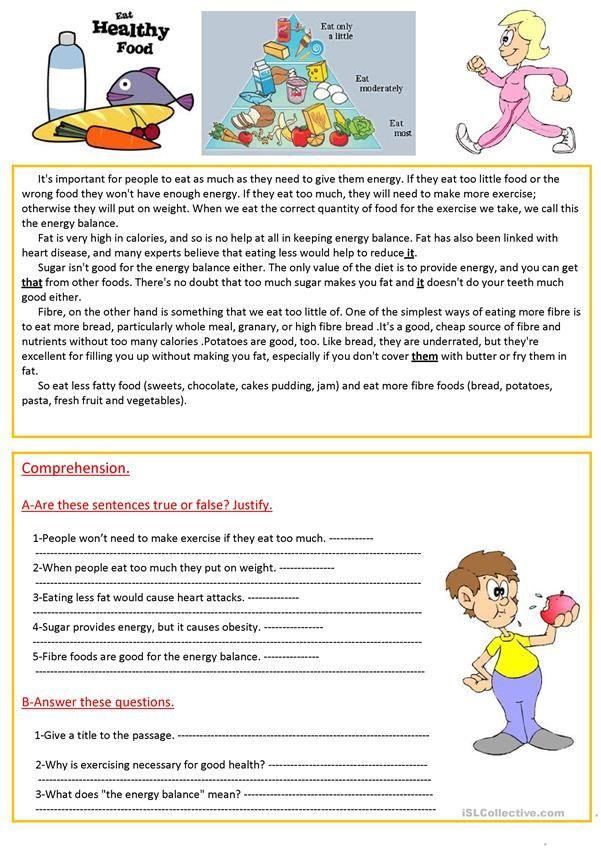 Eat healthy food. worksheet Free ESL printable