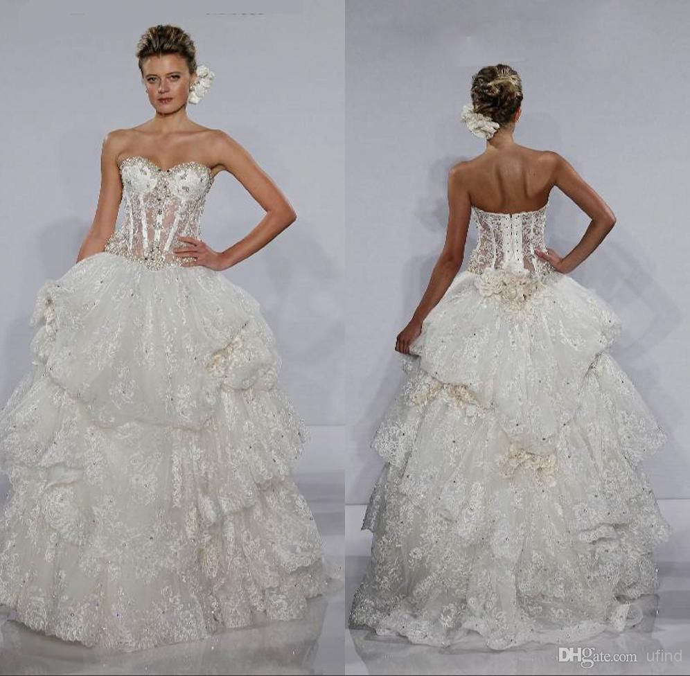 794a38391af Wholesale Ball Gown Wedding Dresses - Buy Fashion Bridal Ball Gown  Sweetheart Beaded Lace Bones See Through Corset Bodice Pearls Pnina Tornai  Wedding .