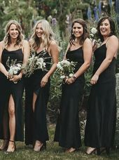 Sheath Spaghetti Straps Black Chiffon Bridesmaid Dress with Split