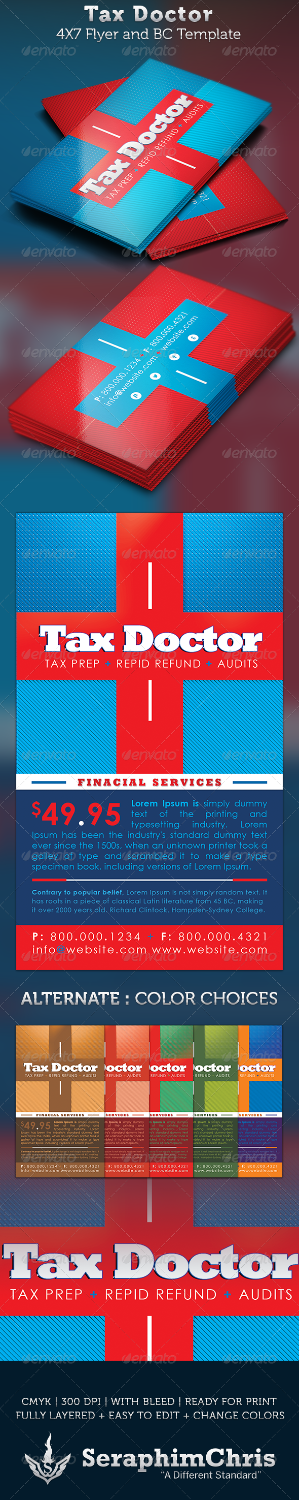 Tax Doctor Business Card and Flyer Template | Flyer template ...
