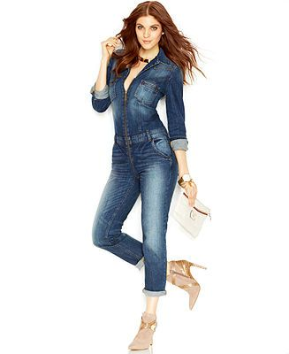2448697239ef GUESS Point-Collar Zipper-Front Denim Jumpsuit - Jumpsuits   Rompers -  Women - Macy s
