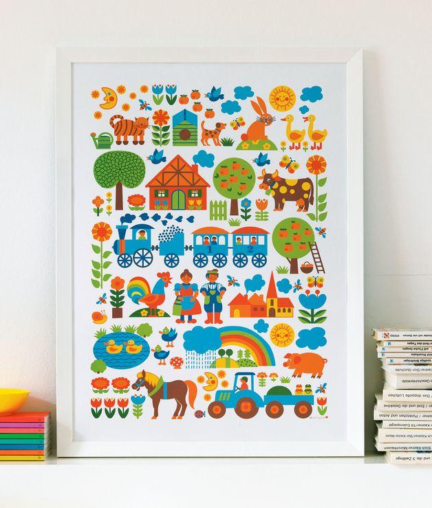 byGraziela Kinderzimmer-Poster: Bauernhof 50 x 70 | Poster ...