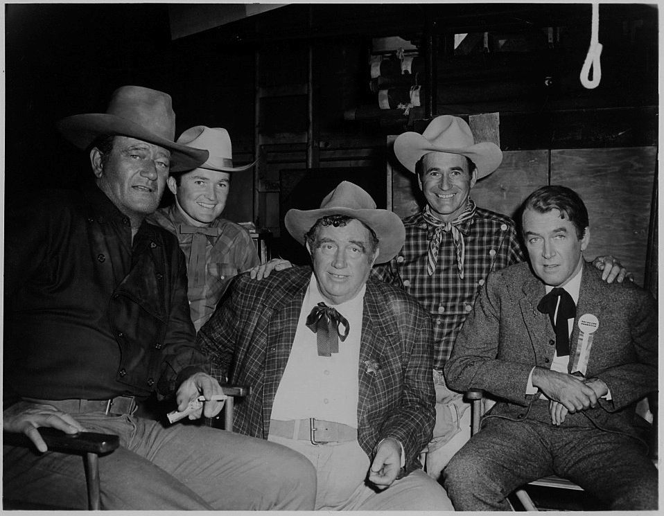 The Man Who Shot Liberty Valance From L To R John Wayne Unidentified Andy Devine Trick Roper Monty Montana Ja John Wayne Movies John Wayne John Ford