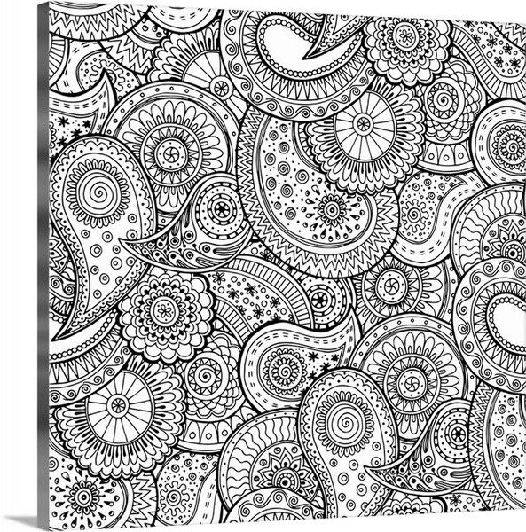 Paisley Swirl II Design Coloring Canvas Print From CanvasOnDemand