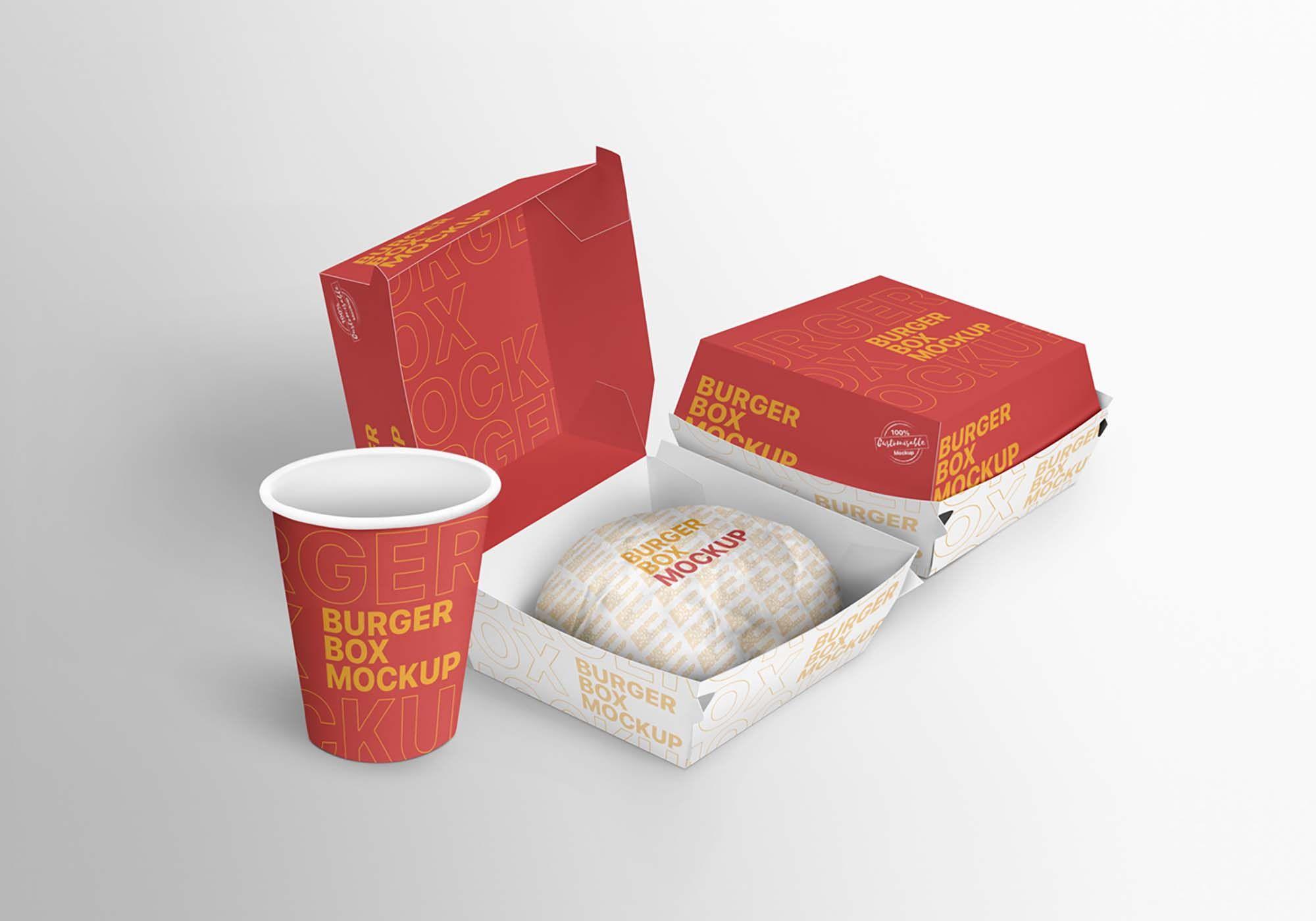 Free Burger Branding Package Mockup Burger Box Burger Branding Packaging Mockup