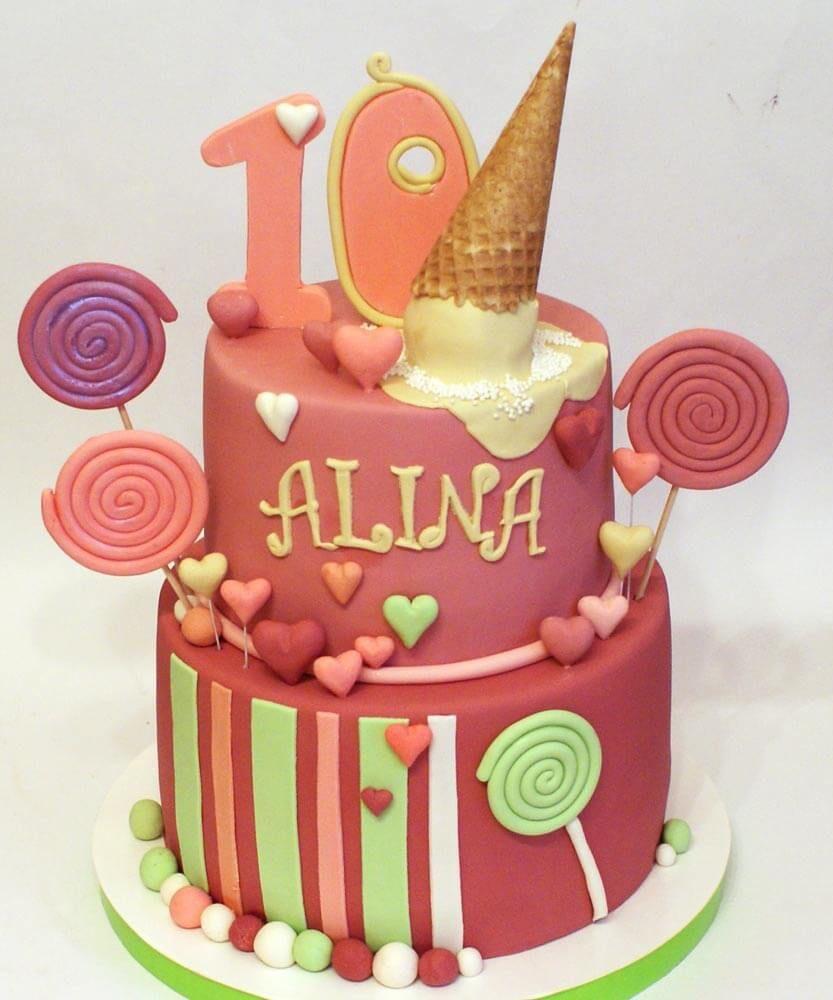 торт на день рождения девочке 10