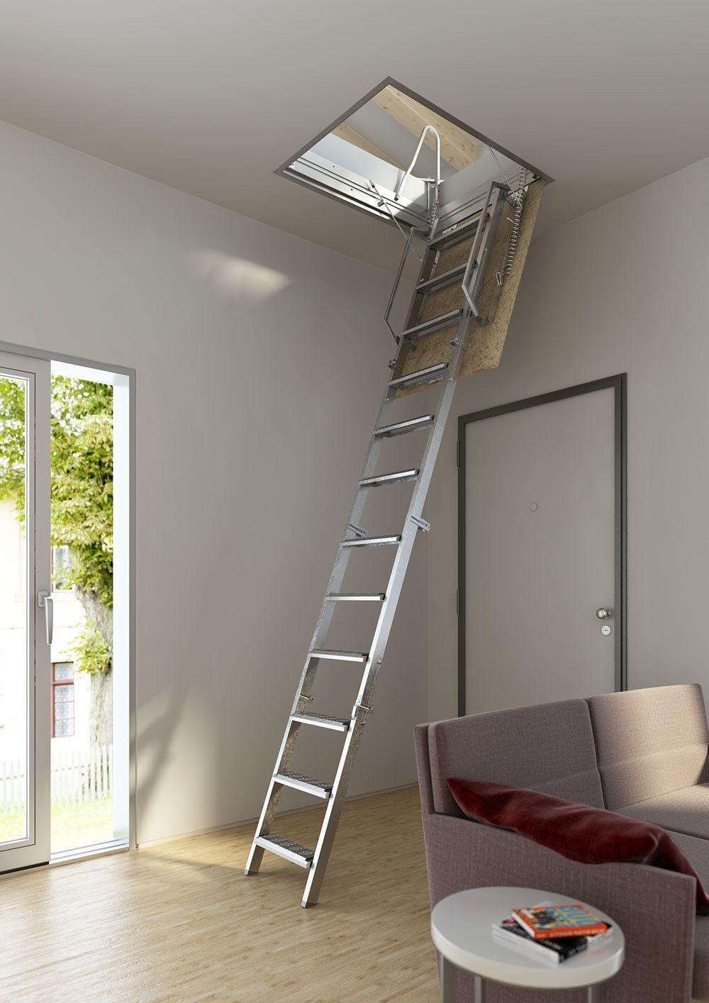 Escalera escamoteable tramo escaleras escamoteables en kit escalera escamoteable altillo y - Escalera plegable para altillo ...