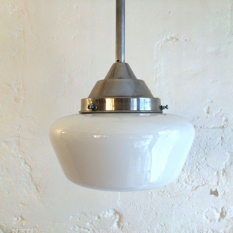 Lampe suspension ancien luminaire abat jour globe en verre for Lampe suspension blanche