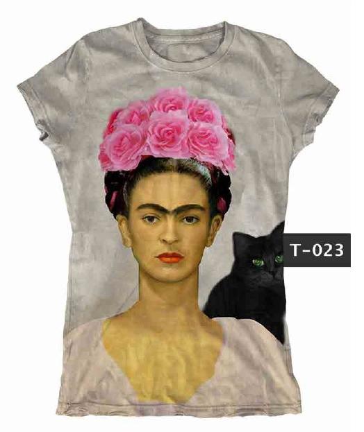 Frida Kahlo  Art Mexican Artist Woman White 3//4 Short Sleeve Cotton T Shirt
