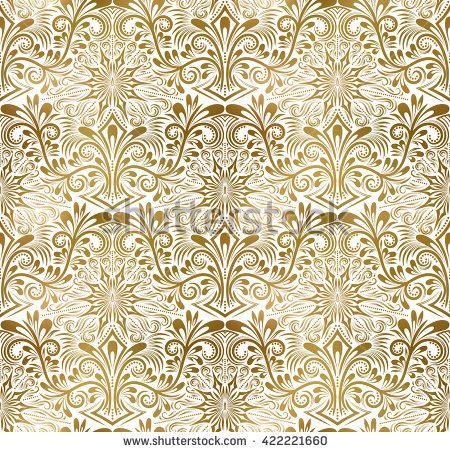 Golden White Vintage Seamless Pattern Gold Royal Classic Baroque Wallpaper Arabic Background Ornament Background Vintage Gold Stock White Wallpaper White and gold wallpaper repeating