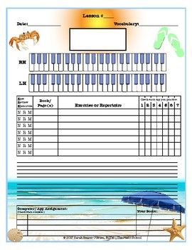 Beach Themed Piano Lessons Assignment Sheet Piano Lessons