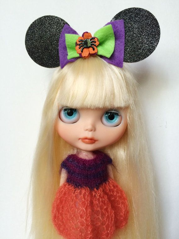 Halloween Minnie Mouse inspired ears for Blythe by RoxyPaige