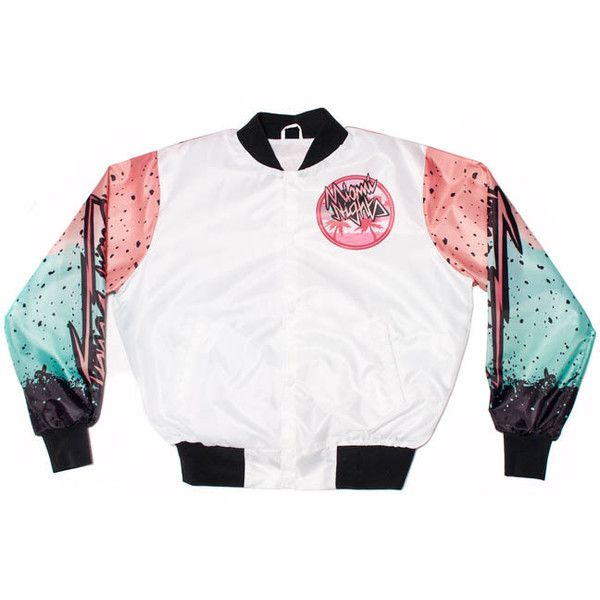 Notone Miami Nights South Beach Jacket ($80) ❤ liked on Polyvore featuring outerwear, jackets, tops, white jacket, bear jacket, south beach jacket and south beach