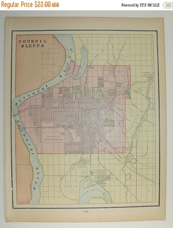 Vintage Map Council Bluffs IA Sioux City Iowa Map City Street - Vintage iowa map