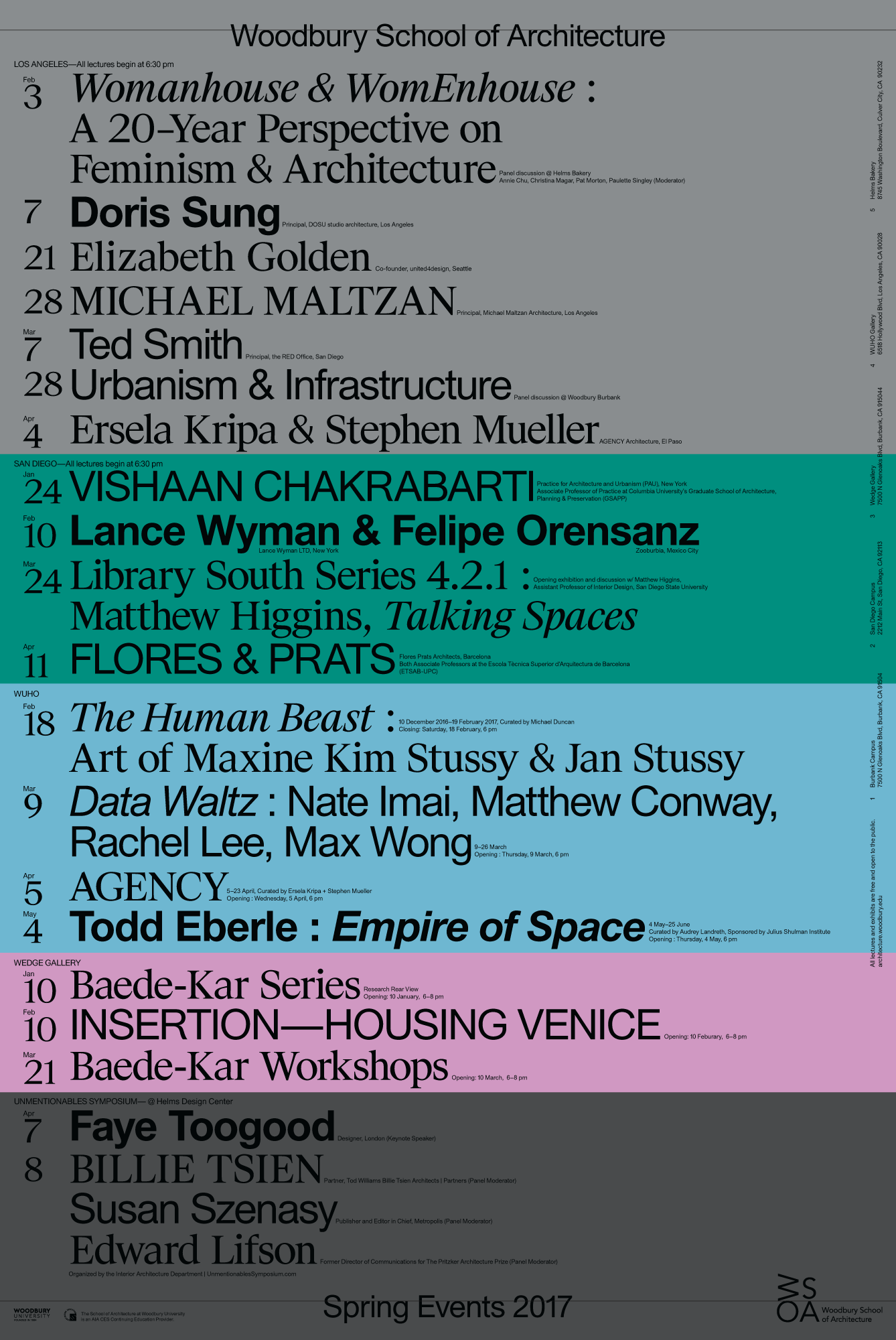 Get Lectured: Woodbury University, Spring '17 | Archinect