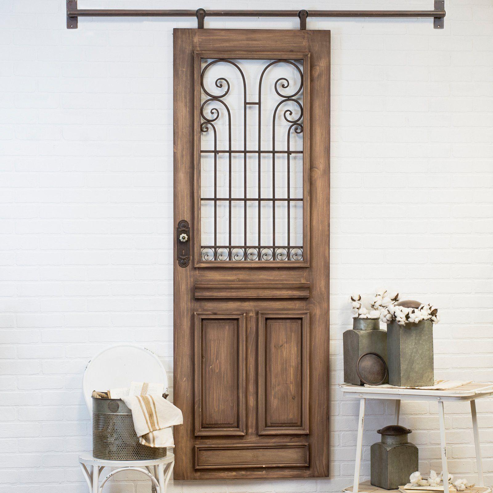 Accent Wall Behind Barn Doors: American Mercantile Wood Hanging Door Wall Accent In 2019