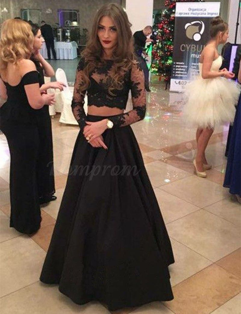 Two piece long sleeves black satin decent prom dress with lace top