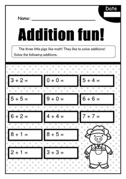 Three Little Pigs Math Fun Worksheets With Images Fun Math
