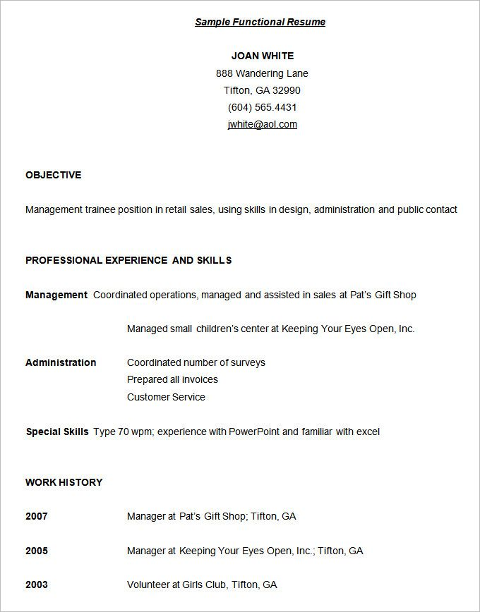 functional resume template free samples examples format templates