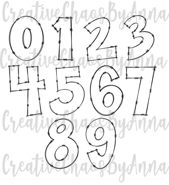 Doodle Letters Numbers With Transparent Inside Bundle PNG