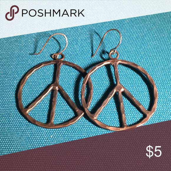"Download Rustic Peace Sign Earrings Approx. 1 1/2"" in diameter ..."