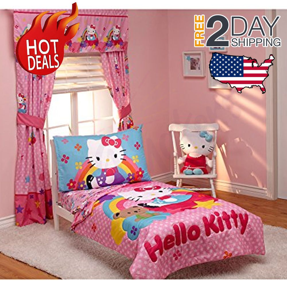 Toddler Bedding Set Hello Kitty Stars Rainbows 4 Pc Girls